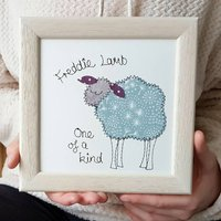 Personalised Sheep Embroidered Framed Art