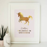 Personalised Gold Foil Unicorn Print