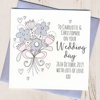 Personalised Glittery Wedding Bouquet Card