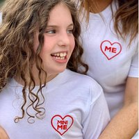 Embroidered Heart Me And Mini Me Twinning T Shirt Set