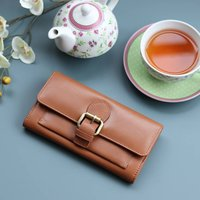 Leather Purse With Buckle, Caramel Tan