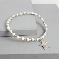 Silver Star And Semi Precious Stone Stacking Bracelet, Silver