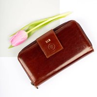 Personalised Ladies Large Leather Purse.The Giorgia, Chestnut/Tan/Dark Chocolate