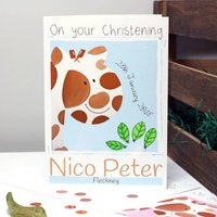 Giraffe Personalised Birth, Christening Card, Pastel Blue/Blue/Pastel Pink