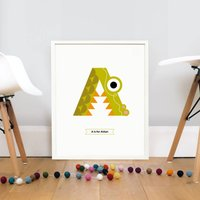 Personalised Animal Letter Print A Is For Alligator