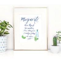 Illustrated Margarita Cocktail Recipe Print
