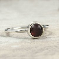 Handmade Silver And Garnet 6mm Stacking Ring, Silver