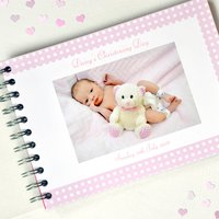 Personalised Christening Book, White/Black