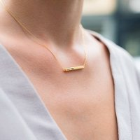 Personalised Horizontal Bar Necklace, Gold/Rose Gold/Rose
