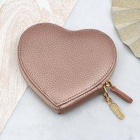 Personalised Luxury Leather Heart Purse, Mulberry/Red/Mint Green