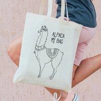 Monochrome Llama Personalised Tote Bag