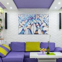 036 Modern Four Panel Flame Painted Metal Tree Wall Art