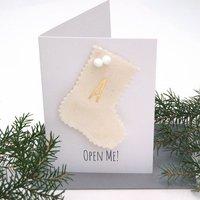 Gold Monogram Christmas Stocking Gift Card