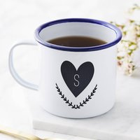Personalised Heart Initial Enamel Mug