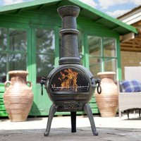 Large Cast Iron Chimenea With Grill