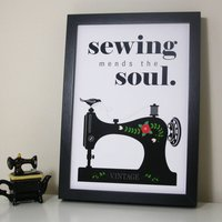 Sewing Mends The Soul' Quote Print, Green/Candy Pink/Pink
