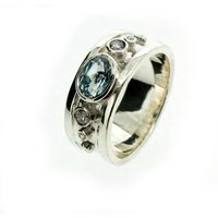 9ct White Gold Blue Topaz And Diamond Ring, Gold