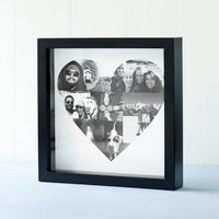 Personalised Heart Shaped Photo Collage, White/Black