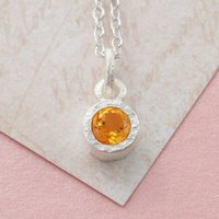 Silver Citrine November Birthstone Solitaire Necklace, Silver