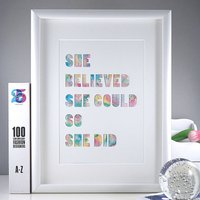 'She Believed She Could' Watercolour Typrographic Print