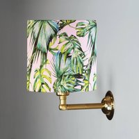 Wall Light With Green And Blush Tropical Drum Shade