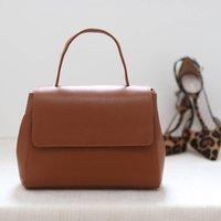 Leather Top Handle Handbag, Tan