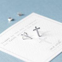 Cross Sterling Silver Stud Earrings, Silver