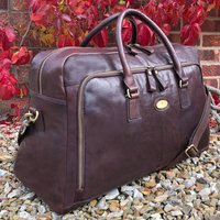 Luxury Black And Brown Leather Holdall, Travel Bag