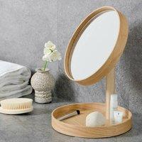Natural Oak Contemporary Magnify Mirror