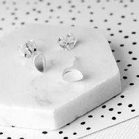 Curved Oval Matte Sterling Silver Stud Earrings, Silver