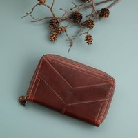 Large Leather Ziparound Purse, Distressed Brown