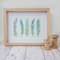 Hand Painted And Embroidered Feather Artwork