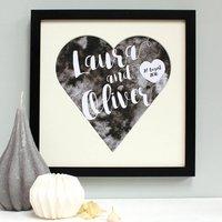 Personalised Wedding Heart Mount Framed Print, Rose/Turquoise/Black