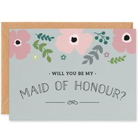 Pink Poppy 'Will You Be My Maid Of Honour?' Card, Pink