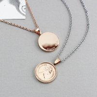 Personalised Rose Gold Halfpenny Necklace 1971 To 1983, Gold
