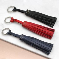 Personalised Initial Leather Tassel Keyring, Pink/Mint/Gold