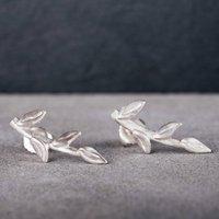 Sterling Silver Branch Stud Earrings, Silver