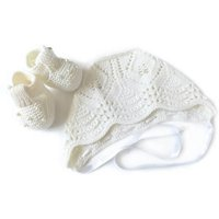 Handmade Christening Hat And Booties Set