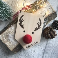 Personalised Wooden Rudolph Plaque Decoration