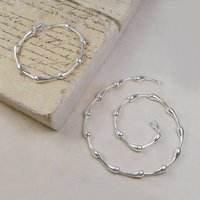 Sterling Silver Teardrop Necklace And Bracelet Set, Silver