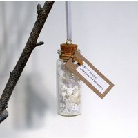 Tiny Bottle Of Snow Personalised Hanging Decoration