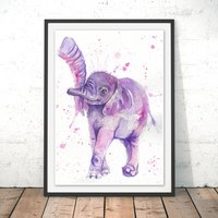 Baby Elephant Watercolour Fine Art Giclee Print