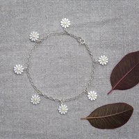 Daisy Bracelet In Solid Silver And 18ct Gold, Silver