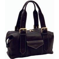 Black Leather Shoulder Bag, Gold/Tan