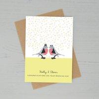 Personalised Love Birds Wedding Day Card