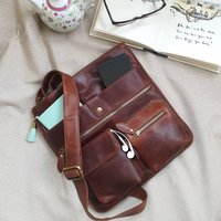 Amy Leather Cross Body Messenger Bag, Red/Brown/Tan