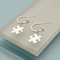 Sterling Silver Jigsaw Charm Drop Hoop Earrings, Silver