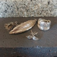 Silver Feather Jewellery Set, Silver