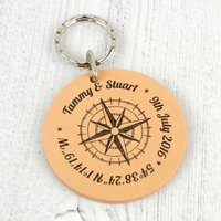 Personalised Gps Coordinates Compass Leather Keyring