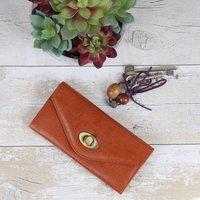 Leather Twist Lock Purse, Tan
